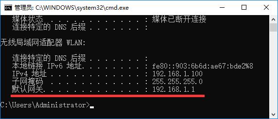 输入:ipconfig 命令